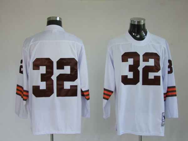 Cleveland Browns  32 Jim Brown White throwback long sleeve jersey