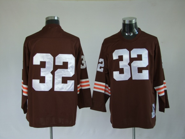 Cleveland Browns  32 Jim Brown Brown throwback long sleeve jersey