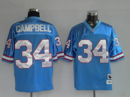 Houston Oilers 34 Earl Campbell Blue Throwback Jerseys