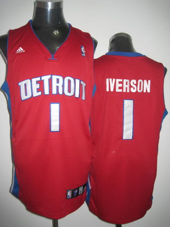 Detroit Pistons 1 Iverson red Jrseys