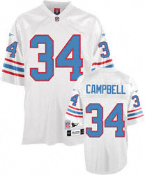 Houston Oilers #34 Earl Campbell White Throwback JerseyS