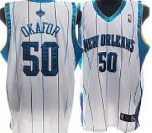 New Orleans Hornets #50 Okafor Authentic White Jersey