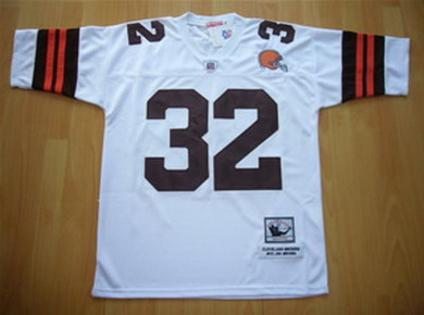 Cleveland Browns 32 Jim Brown white throwback Jerseys