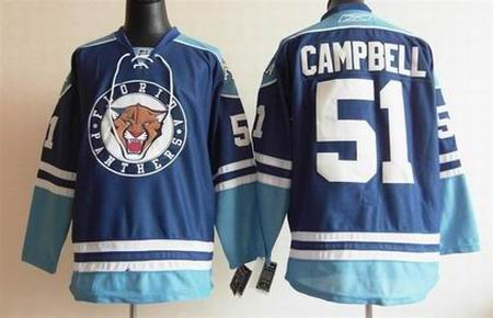 Florida Panthers 51 Brian Campbell Embroidered Blue Third jerseys