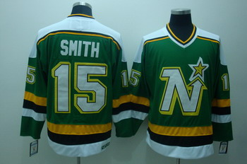 Dalls Stars 15 Smith Green Jerseys CCM