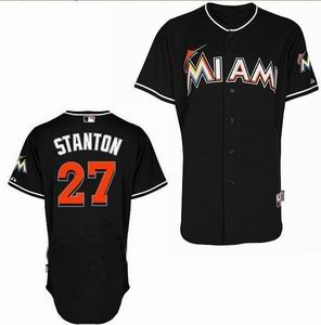 Miami Marlins 27 Mike Stanton black Cool Base Jersey