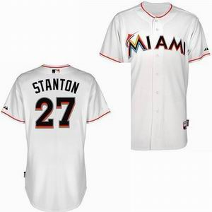 Miami Marlins 27 Mike Stanton white Cool Base Jersey