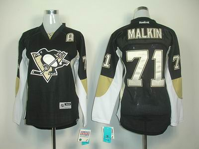 Women Pittaburgh Penguins 71 Malkin black A patch jerseys