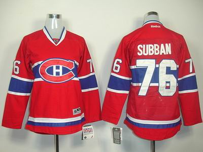 Women Montreal Canadiens 76 P K Subban red Jerseys