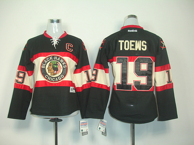 Women Chicago Blackhawks 19 TOEWS WINTER CLASSIC Black