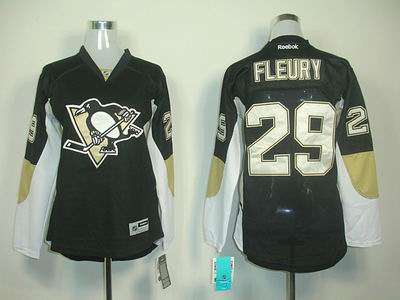 Women Pittsburgh Penguins 29 M Fleury black jerseys