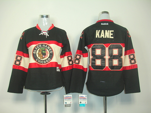 Women Chicago Blackhawks 88 KANE WINTER CLASSIC Black