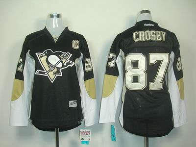 Women Pittsburgh Penguins 87 S Crosby black jerseys