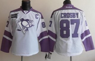 Women Pittsburgh Penguins 87 Sidney Crosby Fights Cancer Hockey Jersey White