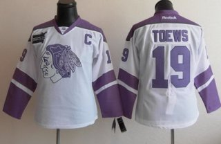 Women Chicago Blackhawks 19 Jonathan Toews White Fights Cancer Hockey Jersey