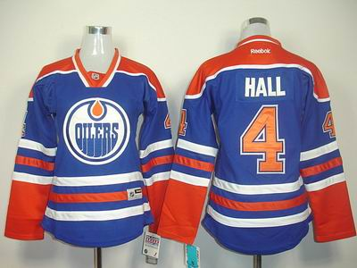 women Edmonton Oilers 4 Taylor Hall LT Blue Jerseys