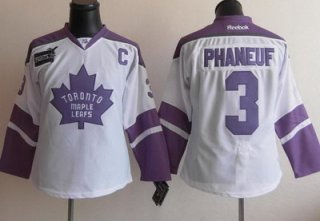 Women Toronto Maple Leafs 3 Dion Phaneuf Fights Cancer Hockey Jersey White