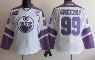Women Edmonton Oilers 99 Wayne Gretzky White Fights Cancer Hockey Jersey