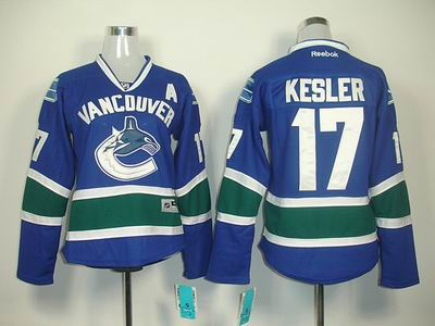 Women vancouver canucks 17 Ryan Kesler Blue jerseys
