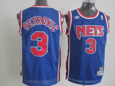New Jersey Nets 3 Drazen Petrovic Blue Embroidered Throwback Jersey
