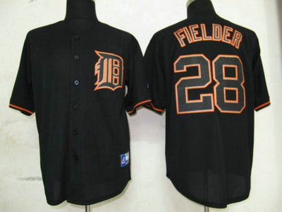MLB Detroit Tigers 28 Fielder Black Fashion Jersey
