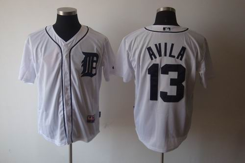 Detroit Tigers 13 Alex Avila white Cool Base Jerseys