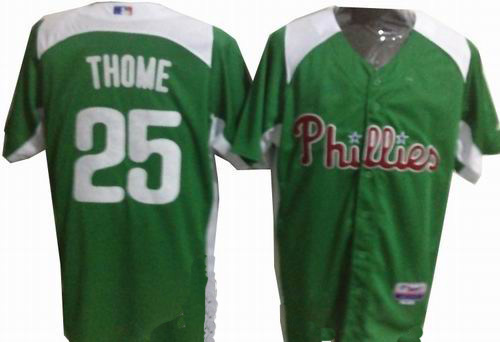 Philadelphia Phillies 25 thome GREEN Personalized 2011 St Patrick's Day Cool Base Jersey