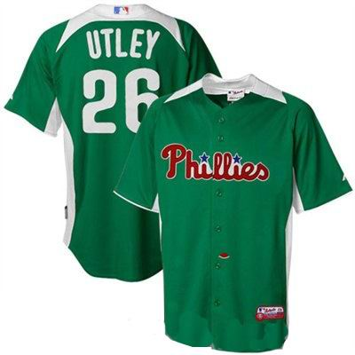 Philadelphia Phillies 26 UTLEY GREEN Personalized 2011 St  Patrick's Day Cool Base BP Jersey