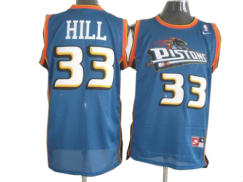 Detroit Pistons 33 Grant Hill blue throwback jerseys