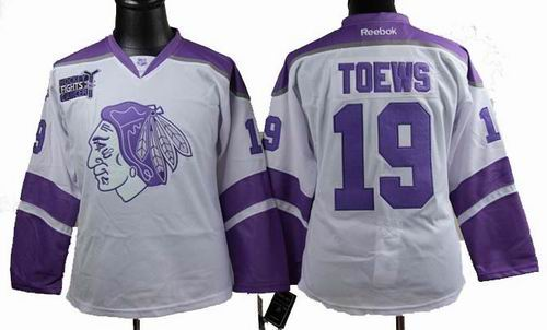 Women Chicago Blackhawks 19 Jonathan Toews Fights Cancer white Jersey