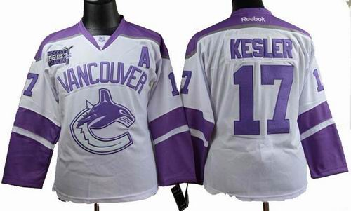 Women vancouver canucks 17 Ryan Kesler Fights Cancer white Jersey