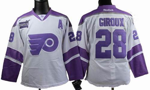 Women Philadelphia Flyers 28 CLAUDE GIROUX Fights Cancer white Jersey