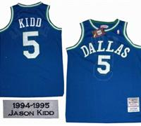 Dallas Mavericks 5 Jason Kidd Throwback blue Jersey