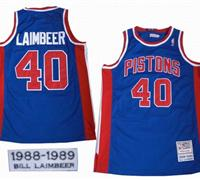 Detroit Pistons 40 Bill Laimbeer Royal Classic Swingman Blue Jersey