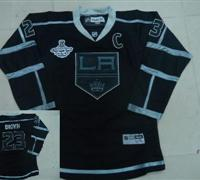 Youth Los Angeles Kings 23 BROWN jersey premier black champions patch 2012