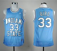 NBA NCAA Indiana State Sycamores Larry Bird 33 Blue College Basketball Hardwood Legends Jersey