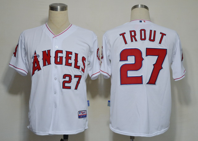 Los Angeles Angels 27 Mike Trout White MLB Jerseys