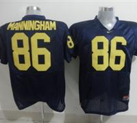 Wolverines #86 Mario Manningham Blue Embroidered NCAA Jerseys