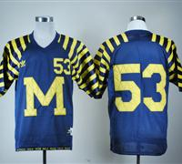 Wolverines #53 Michigan Blue Under The Lights Embroidered NCAA Jerseys
