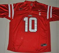 Rebels #10 Eli Manning Red Embroidered NCAA Jersey