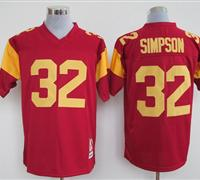 USC Trojans 32 O.J. Simpson RED Embroidered NCAA Jersey