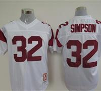 USC Trojans 32 O.J. Simpson White Embroidered NCAA Jersey