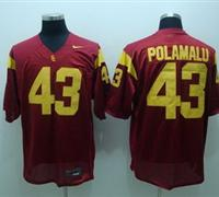 Trojans #43 Troy Polamalu Red Embroidered NCAA Jersey