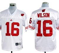 Adidas Wisconsin Badgers Russell Wilson 16 White College Football Jerseys