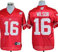 Adidas Wisconsin Badgers Russell Wilson 16 Red College Football Jerseys