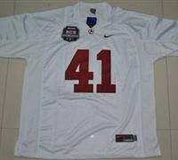 Crimson Tide #41 Courtney Upshaw White 2012 BCS Championship Patch Embroidered NCAA Jersey