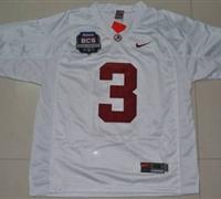 Crimson Tide #3 Trent Richardson White 2012 BCS Championship Patch Embroidered NCAA Jersey