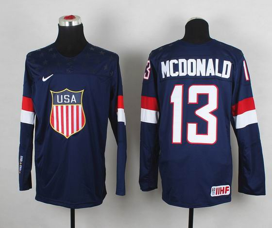 2014 IIHF Ice Hockey World Championship jersey 13# Mcdonald blue