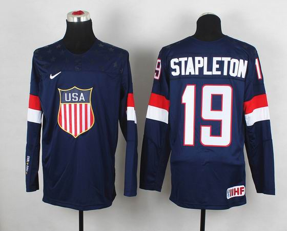 2014 IIHF Ice Hockey World Championship jersey 19# Stapleton blue