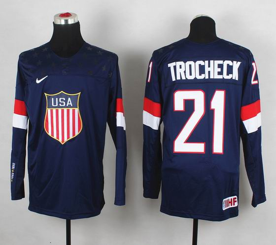 2014 IIHF Ice Hockey World Championship jersey 21# Trocheck blue